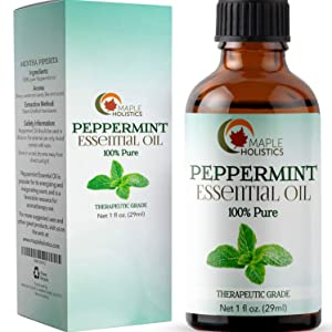 Pure Aromatherapy Peppermint Essential Oil - Natural Therapeutic Grade Essential Oils for Diffuser Pain Relief and Rodent Repellent - Peppermint Oil for Better Skin Care Anxiety Relief and Hair Growth
