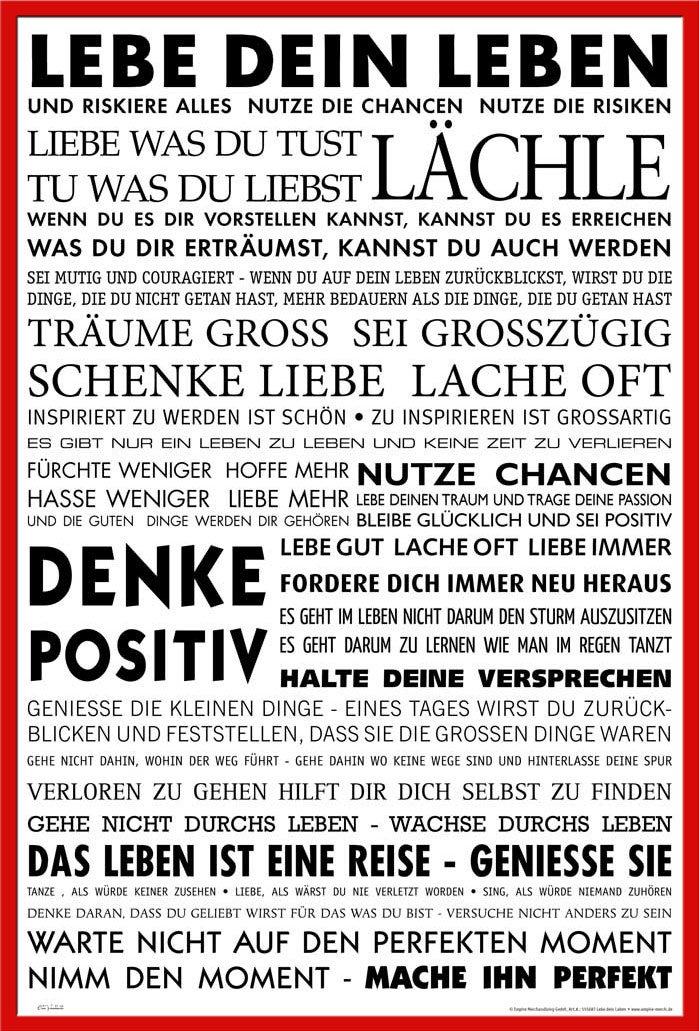 empireposter Motivational - Lebe Dein Leben - Größe (cm), ca. 61x91 ...