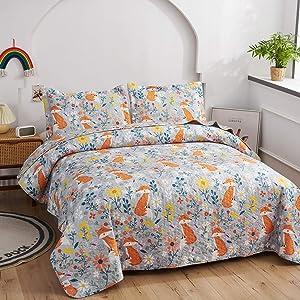 Kids Fox Quilt Full/Queen Size Children Coverlet,Cute Animal Flowers Printed Bedspread Bedding Set,Teens Girls Cartoon Bedspread Reversible Lightweight Kids Quilts+2 Pillow Shams