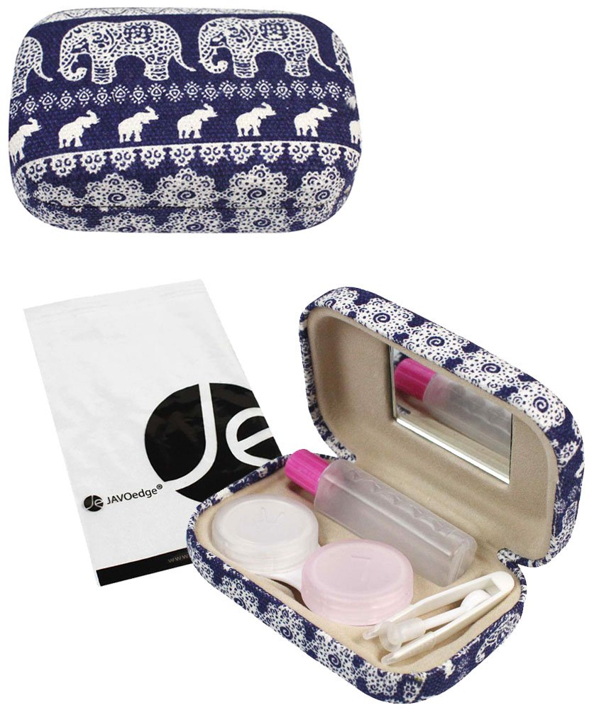 JAVOedge Blue Elephant Print Contact Lens Carrying Case Travel Kit with Mirror, Tweezer, and Soultion Bottle 4332660328