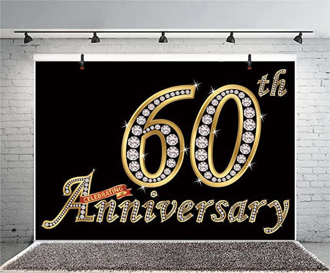 10x6.5ft 60th Anniversary Celebrating Poster Backdrop Polyester Gloden Diamond Number 60 Black Photography Background Openning Up IPO Wedding Marriage Birthday Celebrating Party Banner
