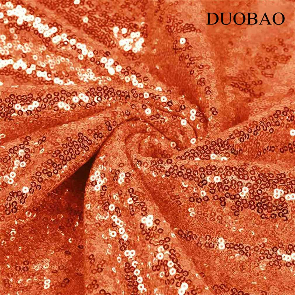 DUOBAO Orange Sequin Fabric for Sewing Glitter Backdrop Orange 10 Yards Sequin Material Fabric 2 Way Stretch Sequin Fabric by The Yard