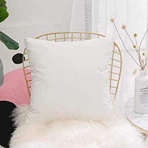 Home Brilliant Soft Velvet Solid Spring Decorative Throw Pillow Cover for Couch Bed Chair Nursery, 18x18 inches(45x45cm), White