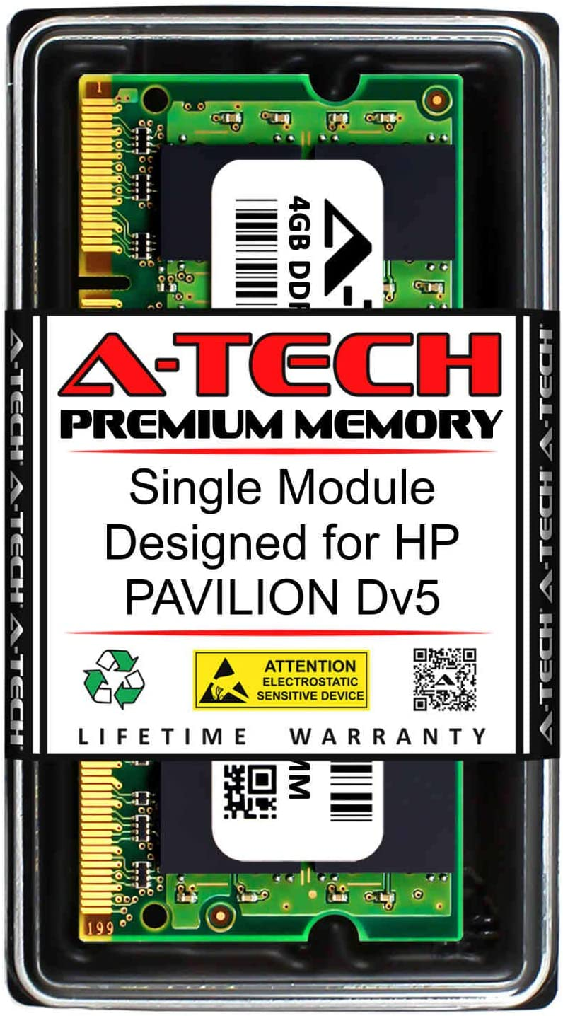 A-Tech 4GB RAM for HP Pavilion DV5 | DDR2 800MHz SODIMM PC2-6400 200-Pin Non-ECC Memory Upgrade Module