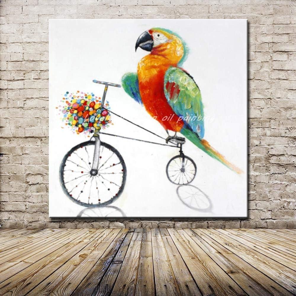 Pintura Al Óleo Sobre Lienzo Loro Animales De Dibujos Animados Hechos A Mano La Pared Decorativos Cuadros Pintados A Mano De Pintura Al Óleo Sobre Lienzo De Pared De Arte Salón Decoracion,60×60C