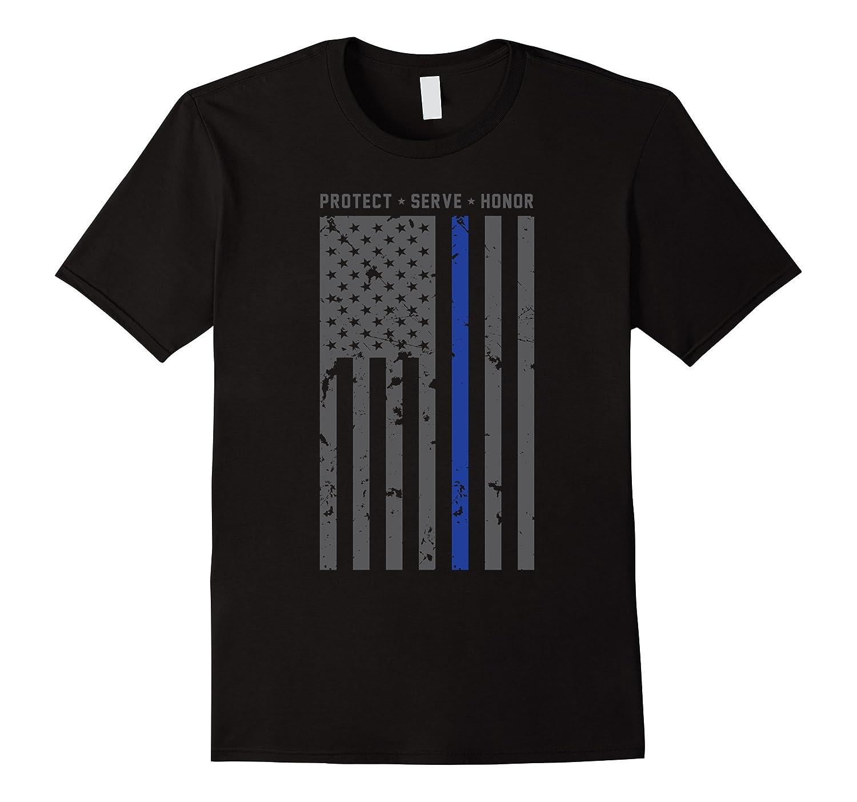 Huge American Flag Thin Blue Line Protect Serve Honor Shirt-TD