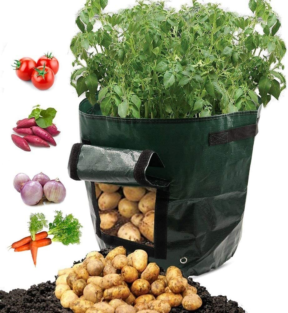 ARKSTAR Grow Bags,7 Gallon Growing Bags Garden Bags Potato Planter Bags with Access Flap and Handles for Flower Vegetables Potato,Carrot,Onion Tomato 2 Pack