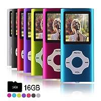 Ueleknight MP3-Player MP4-Player mit Einer 16G Micro SD-Karte, Wiedergabe 16GB Musik-Player Hi-Fi-Sound, tragbarer digitaler Musik-Player mit FM-Radio und Voice Recorder Funktion-Blau