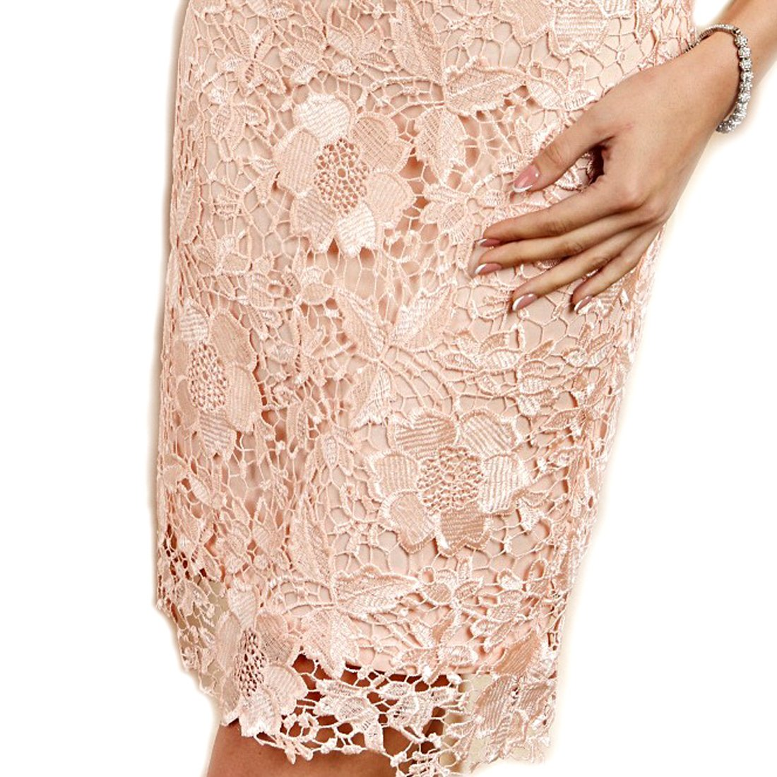 a5e28a7268d5 Crazy4Bling Soieblu Blush Lace Yoke & Mesh Off The Shoulder Embroidery  Bodycon Dress, Medium at Amazon Women's Clothing store: