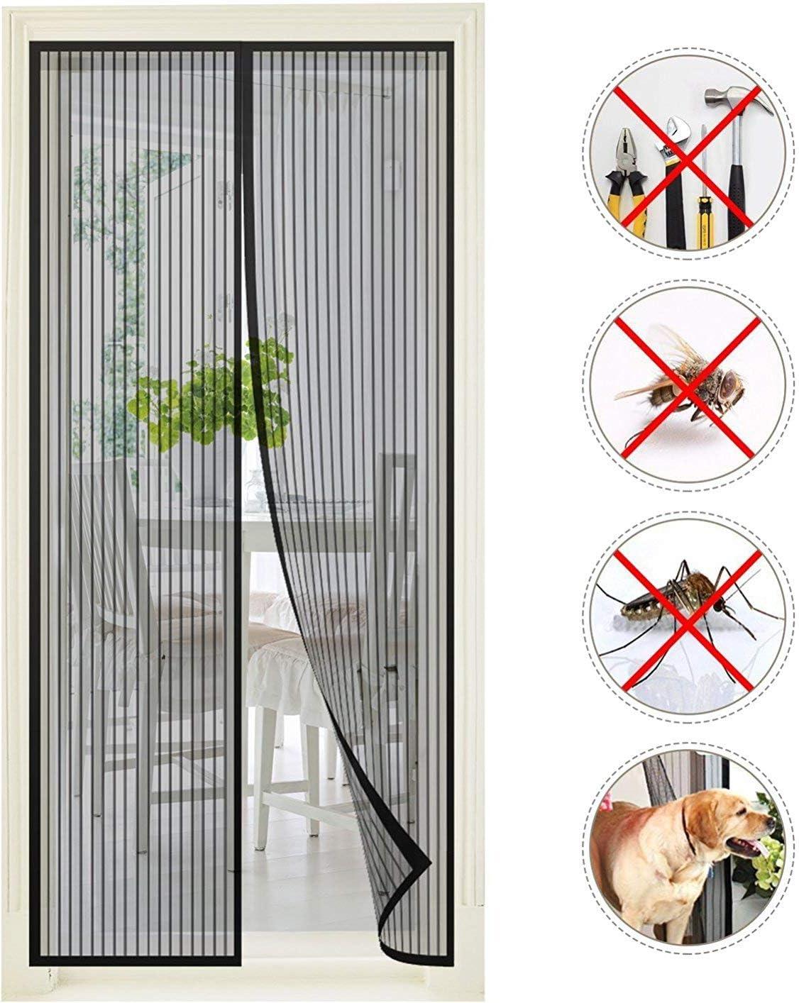Grau 115x215cm Magnet Fliegengitter Balkont/ür Fliegengitter Balkont/ür Insektenschutz Frei Magnetisch f/ür Balkont/ür Wohnzimmer Terrassent/ür