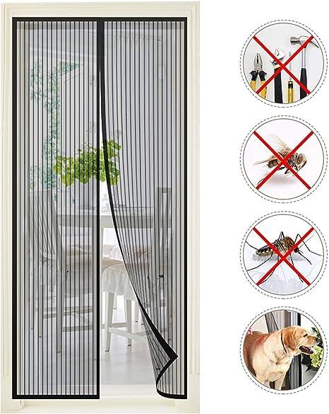 WxH Schwarz 100x110CM WISKEO Fliegengitter Fenster Klettband Magnet Verschiedene Gr/ö/ßen Insektenschutz Klettband Anti-Moskito Insektenschutzgitter Rahmen Entfernbar Schiebe Dach T/ür
