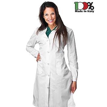 AIESI Bata de Laboratorio Medico para Mujer blanco de algodón 100% sanforizado MADE IN ITALY talla 60: Amazon.es: Bricolaje y herramientas