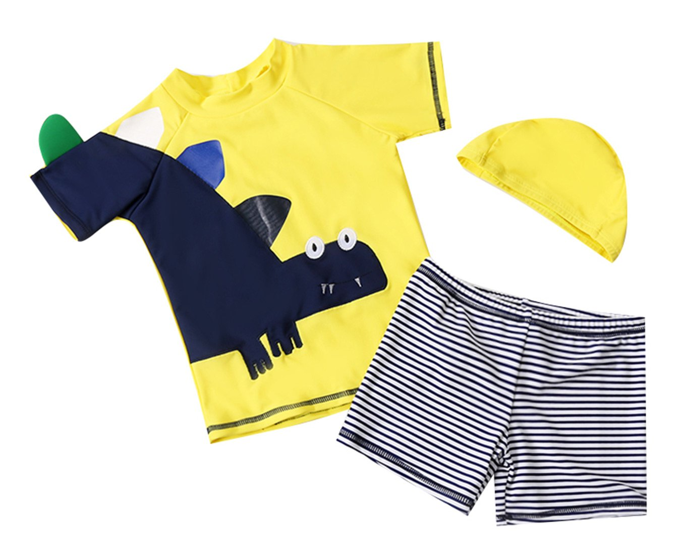 Happy Cherry Baby Boys' 3PCS Swimwear Set with Swimming Cap for 1-10T Girls