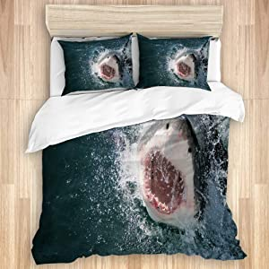 """VANKINE Bedding Set,Great White Shark,Decorative Lightweight Quilt Cover Set 1 Duvet Cover with 2 Pillow case with Zipper,Full Size(80""""X90"""")"""