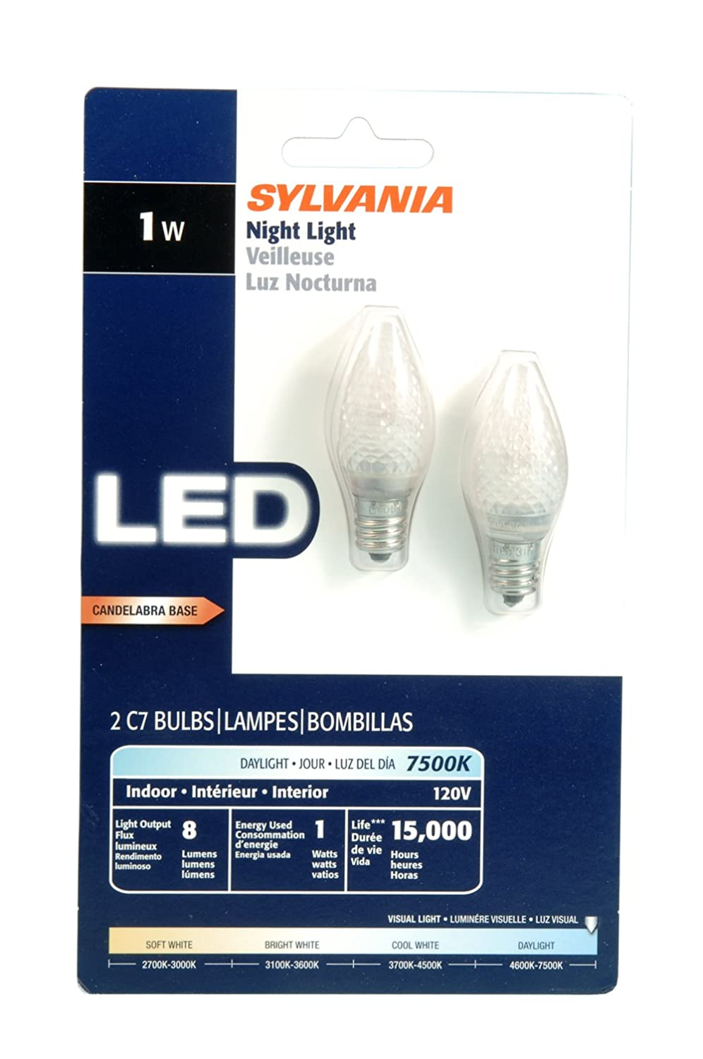 Sylvania 78562 LED C7 1-Watt Night Light, 2-Pack - Led Household Light Bulbs - Amazon.com