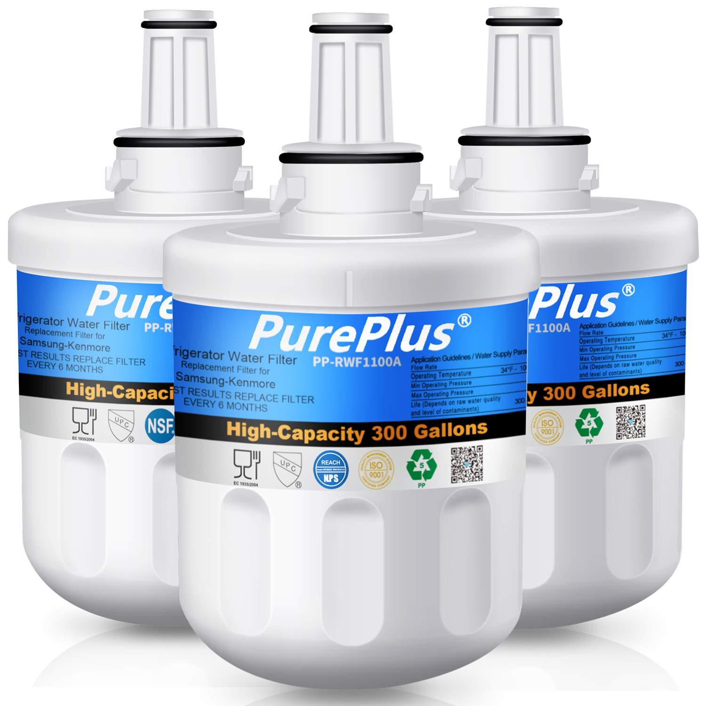 PUREPLUS DA29-00003G Refrigerator Water Filter Compatible with Samsung DA2900003G,DA29-00003,DA29-00003A,DA29-00003A-B, DA29-00003F,DA29-00003B,DA2900003A,DA2900003B,HAFCU1 (3 PACK)