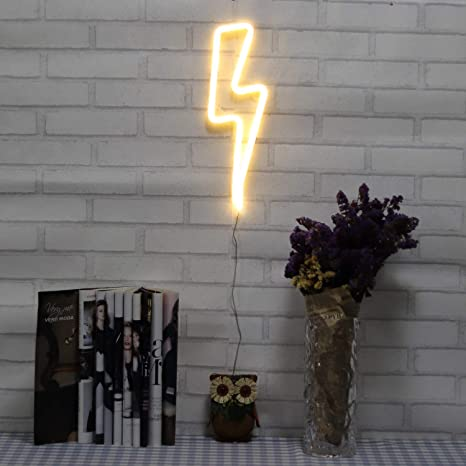 Neon Signs Lightning Bolt Battery Operated And Usb Powered Warm White Art Led Decorative Lights Wall Decor For Living Room Office Christmas Wedding Party Decoration Nelnb Amazon Com