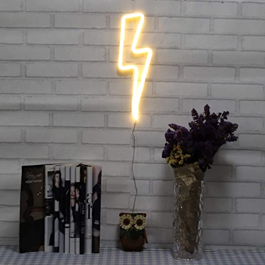 Neon Signs Lightning Bolt Battery Operated and USB Powered Warm White Art LED Decorative Lights Wall Decor for Living Room Office Christmas Wedding Party Decoration(NELNB) - - Amazon.com