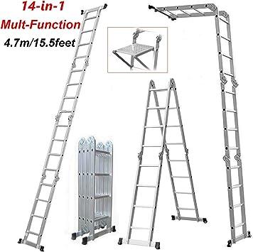 Escaleras plegables multifunción, 14 en 1, 4,7 m, con 1 bandeja de herramientas, escalera plegable, escalera plegable, escalera de aluminio, fabricada según EN131, capacidad de carga de 150 kg: Amazon.es: Bricolaje y herramientas