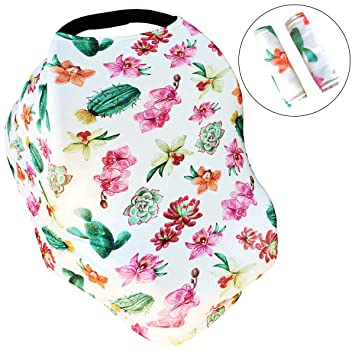 Cactus Multi-Use Nursing Breastfeeding Cover Scarf Baby Car Seat Canopy Cover Stretchy Baby Stroller Cotton Infinity Shawl for Infant Car Seat-Moms Baby Shower Gift