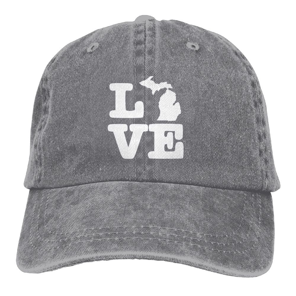 I Love Michigan Map Adult New Style COWBOY HAT