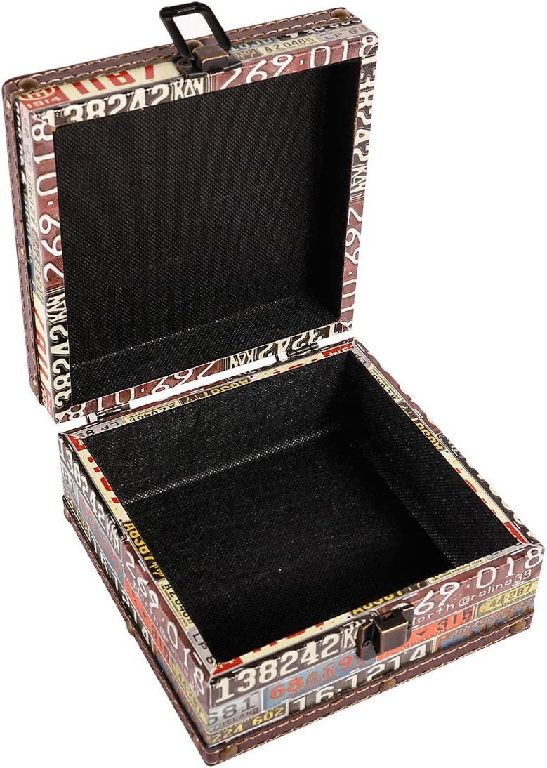 WaaHome Vintage Wooden Treasure Box Decorative Jewelry Keepsakes Boxes for Gifts,Home Decorations,6.4 LX6.4 WX3.2 H