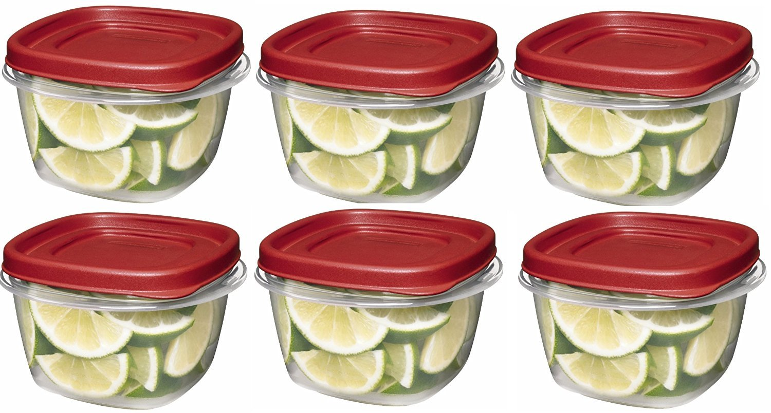 Rubbermaid SYNCHKG045854 085275708479 7J60 Easy Find Lid Square 2-Cup Food Storage (Pack of 6 Containers), Red, Clear