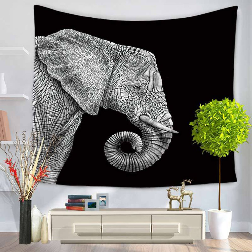 ChezMax Animals Pattern Square Polyester Tapestry Multi Purpose Decorative Wall Hanging Mural Art for Bedroom Elephant Black 59'' X 79''