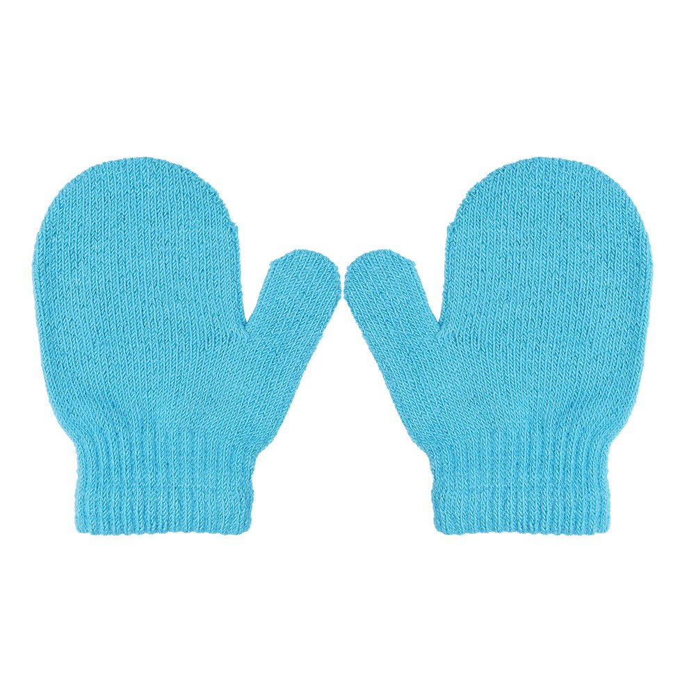 Toddler Unisex Baby Girl Boy Solid Color Warm Knit Gloves Magic Stretch Mittens Winter Black)