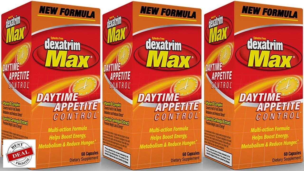 Dexatrim Max Appetite Control Weight Loss and Energy Boosting Supplement 60 Capsules (Pack of 3) by STACKER 2