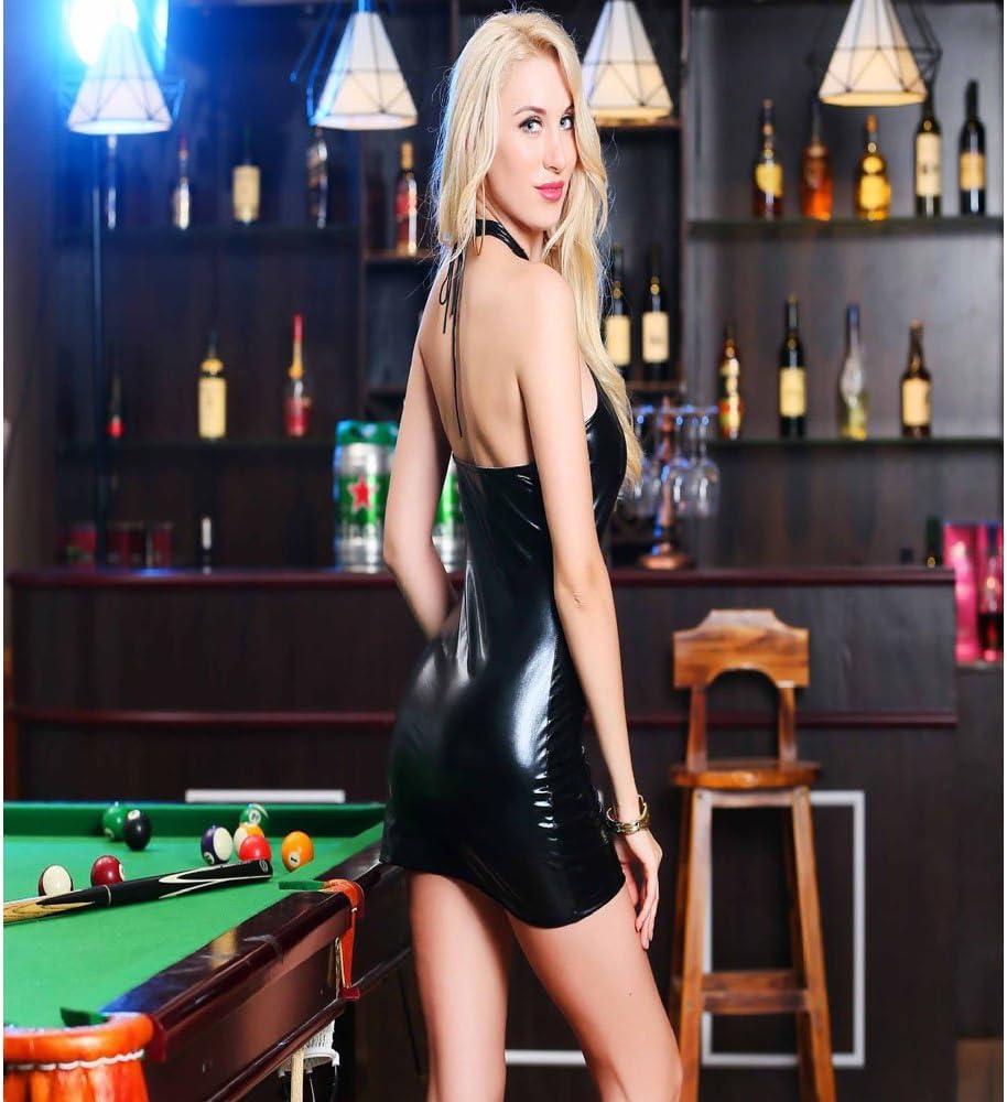 Liu Sensen Tentación Lencería Sexy Ropa Interior Sexy Conjunto Negro Cuero Vestido Discotecas Etapa Rendimiento Ropa De Charol Vestido De Cuero,XL: Amazon.es: Deportes y aire libre