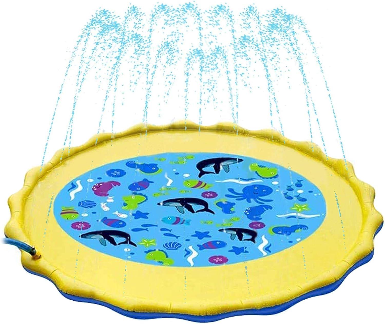Splash Pad 170 CM Sendowtek, Almohadilla de Aspersión, Juego de Salpicaduras y Salpicaduras, Aspersor de Juego Agua, Piscina para niños para Jardín al Aire Libre Actividades Familiares