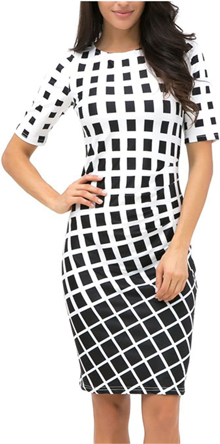 COOCOl Womens Clothing Plus Size Spring for Work Black White Dress 8622
