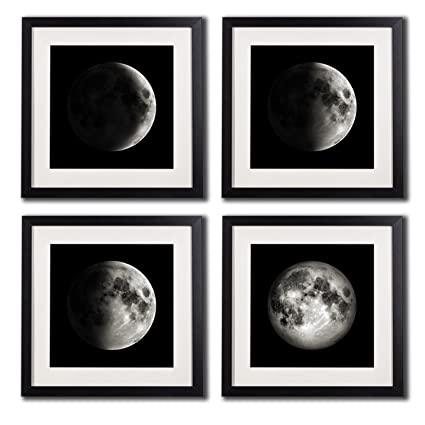 White matted black picture frame moon poster canvas prints black and white wall art home decor