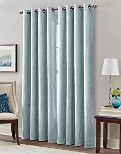 """Peri Home Majestic Chenille Curtain Panel, 84"""", Aqua"""