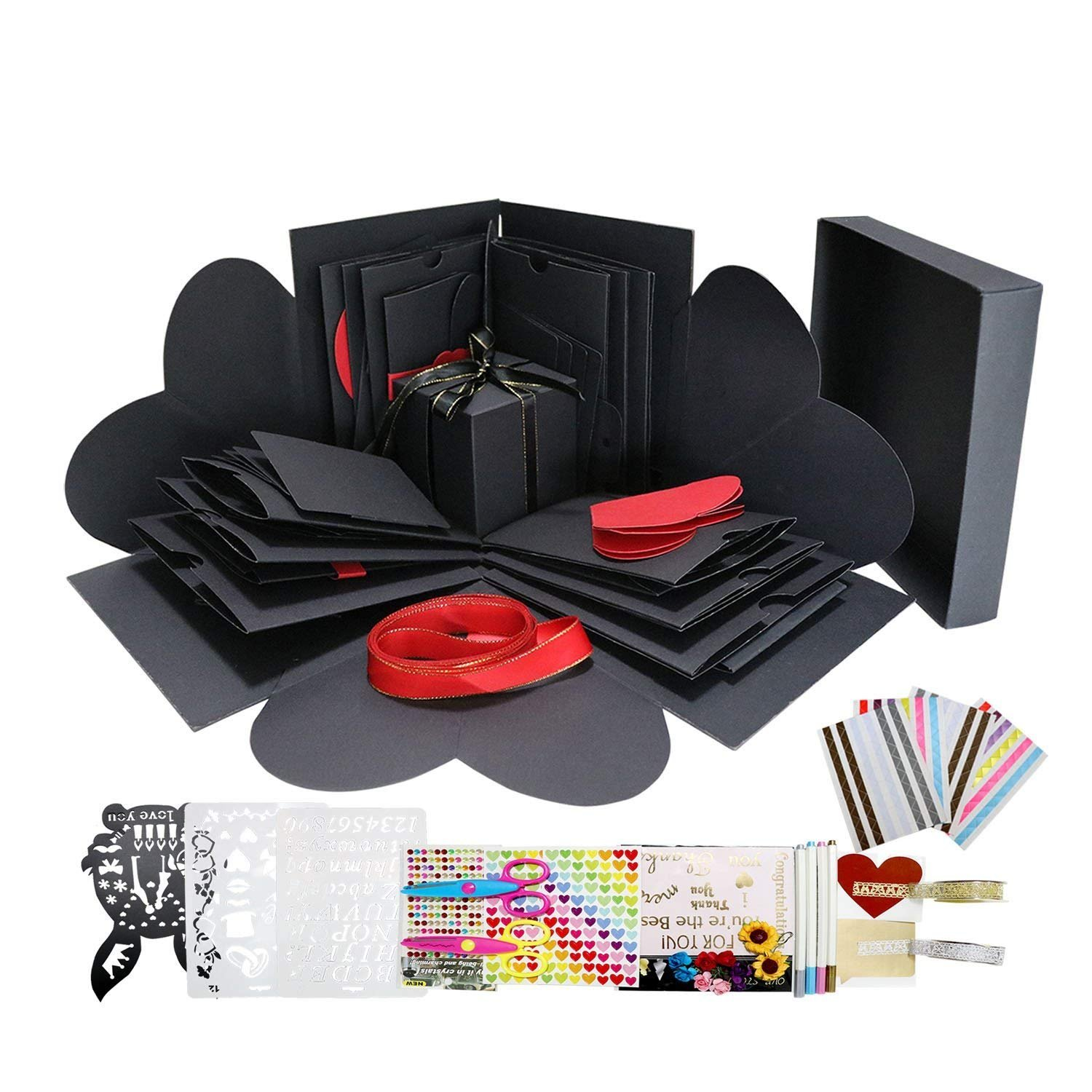Explosion Box Scrapbook DIY Photo Album with 12 Funny Cards and 15 Kinds of DIY Accessories Kit Birthday Anniversary Valentine Wedding Gift (Black with White Box) WIMI 4336978041
