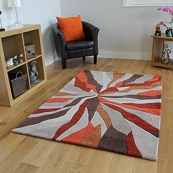 The Rug House Tapis de Salon Moderne de Haute Qualité Design Effet de  Vagues Orange et Beige 3 Tailles- Banbury