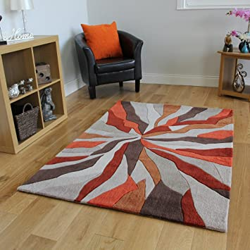 Attrayant The Rug House Tapis De Salon Moderne De Haute Qualité Design Effet De  Vagues Orange Beige