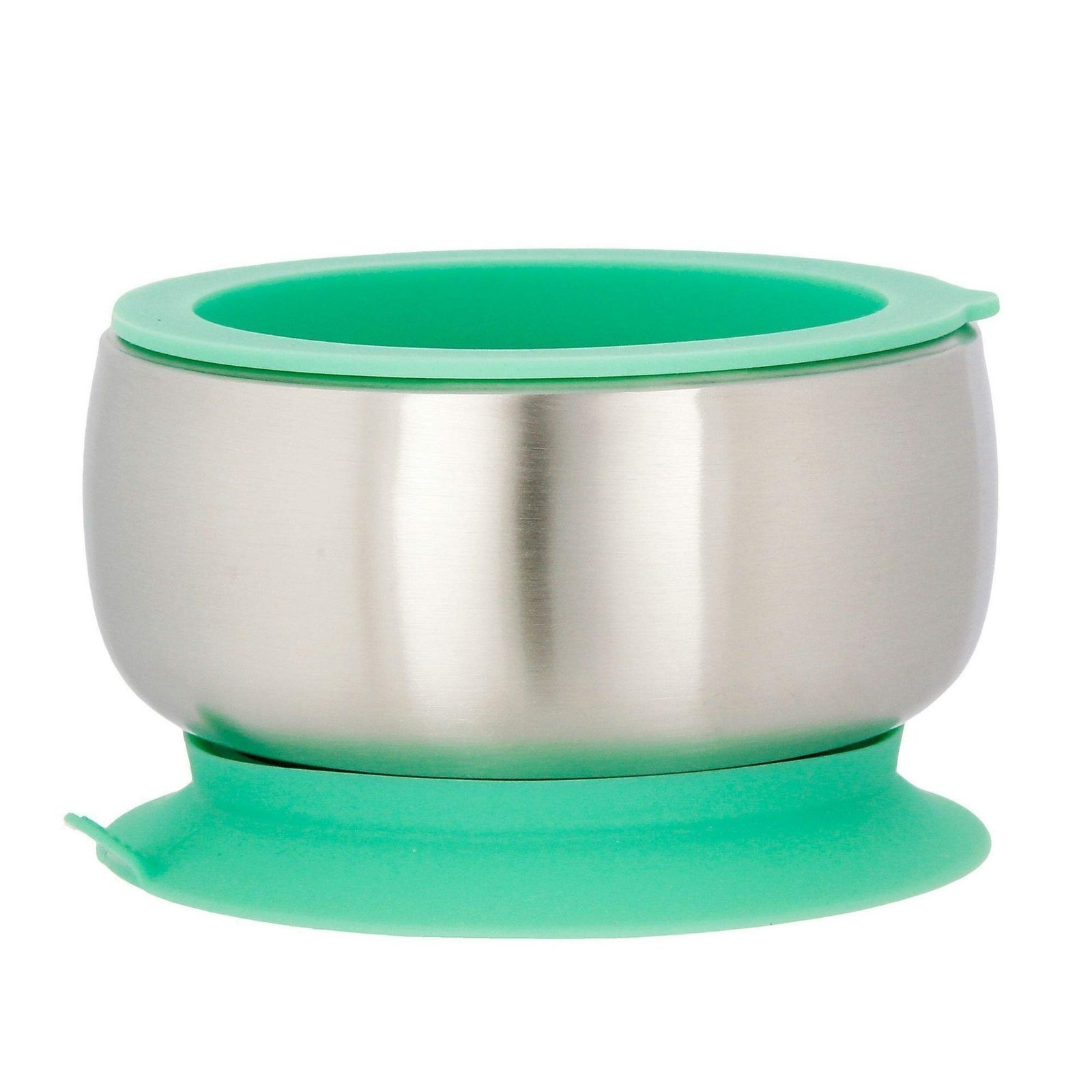 Avanchy Baby Feeding Stainless Steel Spill Proof Stay Put Suction Bowl + Air Tight Lid - Great Baby Gift Set (Green)