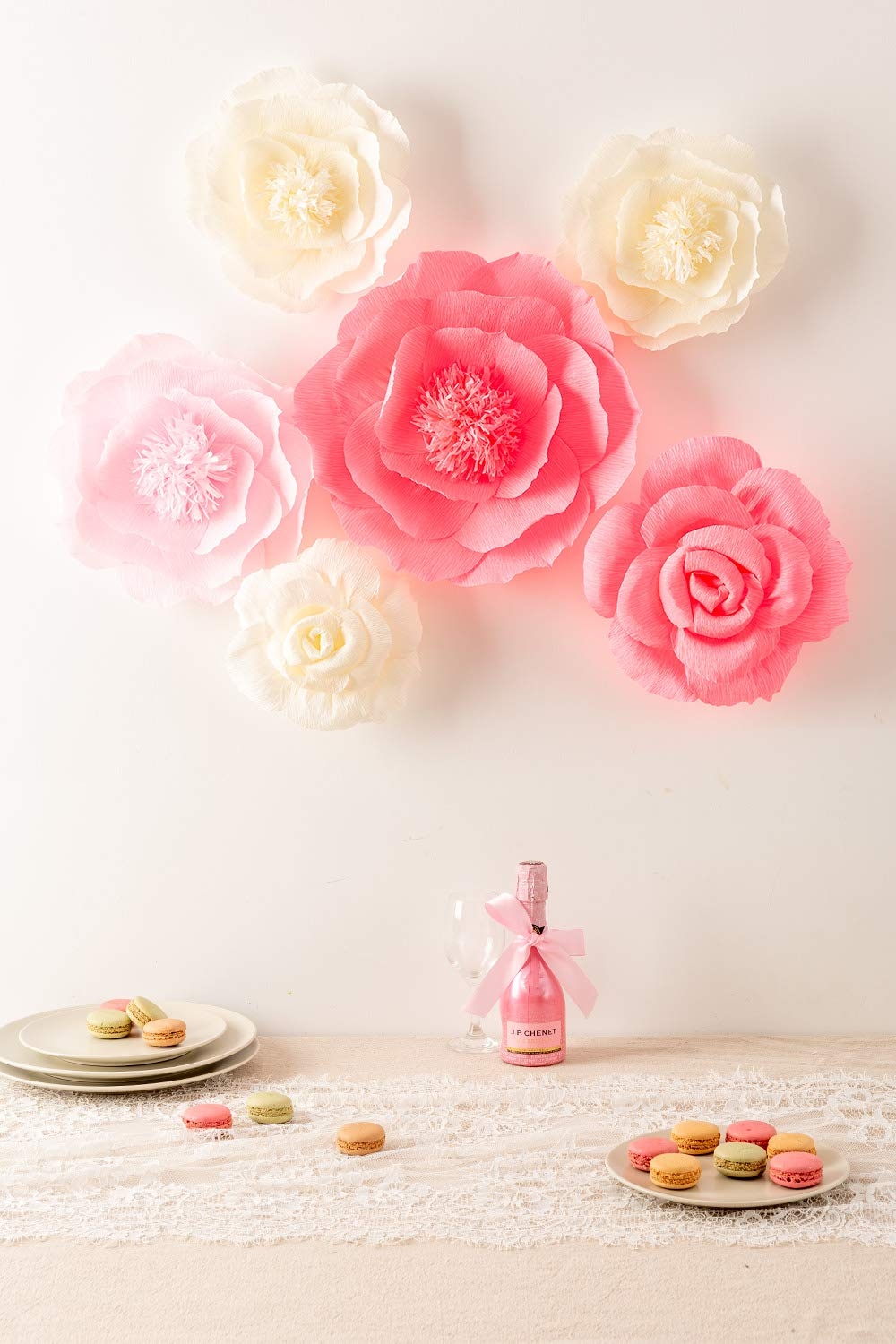 Large-Pink-Ivory-and-Watermelon-Pink-Crepe-Paper-Flowers-Set-of-6-Wedding-Decor-Party-Decorations-Nursery-Decor-Wall-of-FlowersFloral-BackdropPaper-Flower-Handcrafted