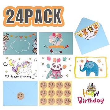 Amazon Com Happy Birthday Gift Cards 24 Pcs Assorted Folded Kids