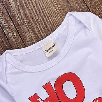 K-youth Ropa Bebe Nino Recien Nacido Otoño Invierno Infantil Body Bebe Niña Conjunto Bebé Mono Navidad Papá Noel Letra Mameluco de Manga Larga + Pantalone + Sombrero 0-24 Mes(Rojo, 0-6 Meses): Amazon.es: