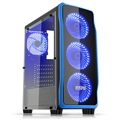 Empire Gaming - Caja PC para juegos DarkRaw negra LED azul: USB 3.0 y USB 2.0, 4 ventiladores LED 120 mm + controlador de ventiladores, pared lateral ...