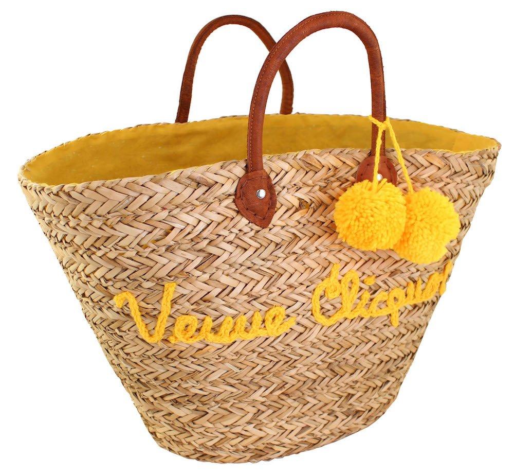 Veuve ClicquotショッピングバッグシーグラスNature Market Basket withブラウンレザーハンドル   B075FFW4PX