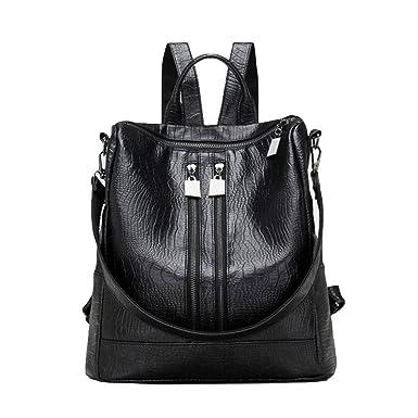Damen PU Umhängetasche Handtaschen Casual Reißverschluss Rucksack Handtasche,Black-OneSize GKKXUE