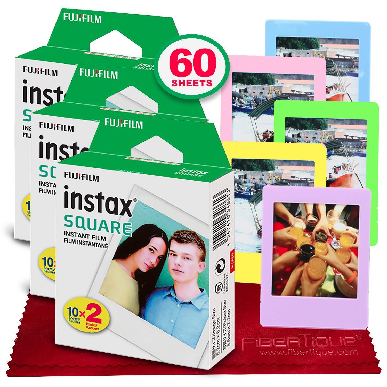 Fujifilm instax Square Instant Film (60 Exposures) Compatible Instax Square SQ6, SQ10 and SQ20 Instant Cameras + 5 Color Picture Frames + FiberTique Cleaning Cloth by Fujifilm