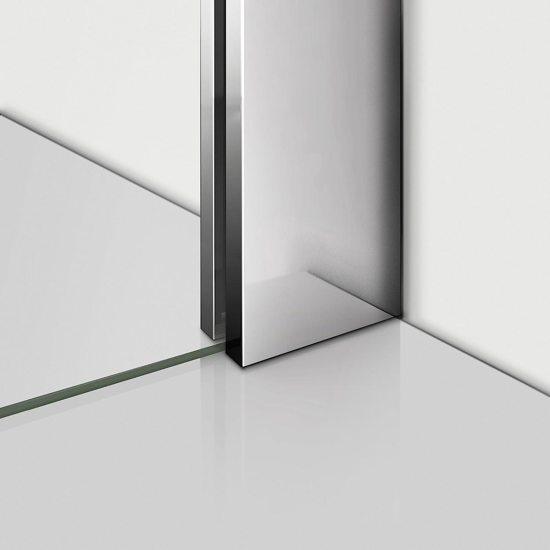 Walk in Duschwand 110x200cm Duschabtrennung Dusche 8mm Easy-clean Nano Teilsatiniert Glas Duschkabine mit Stabilisierungsstange