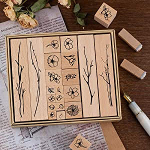 Dizdkizd 20 Pieces Vintage Wooden Rubber Stamps, Plant & Flower Decorative Mounted Rubber Stamp Set for DIY Craft, Letters Diary and Craft Scrapbooking