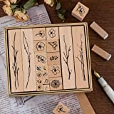 Dizdkizd 20 Pieces Vintage Wooden Rubber Stamps, Plant & Flower Decorative Mounted Rubber Stamp Set for DIY Craft, Letters Di