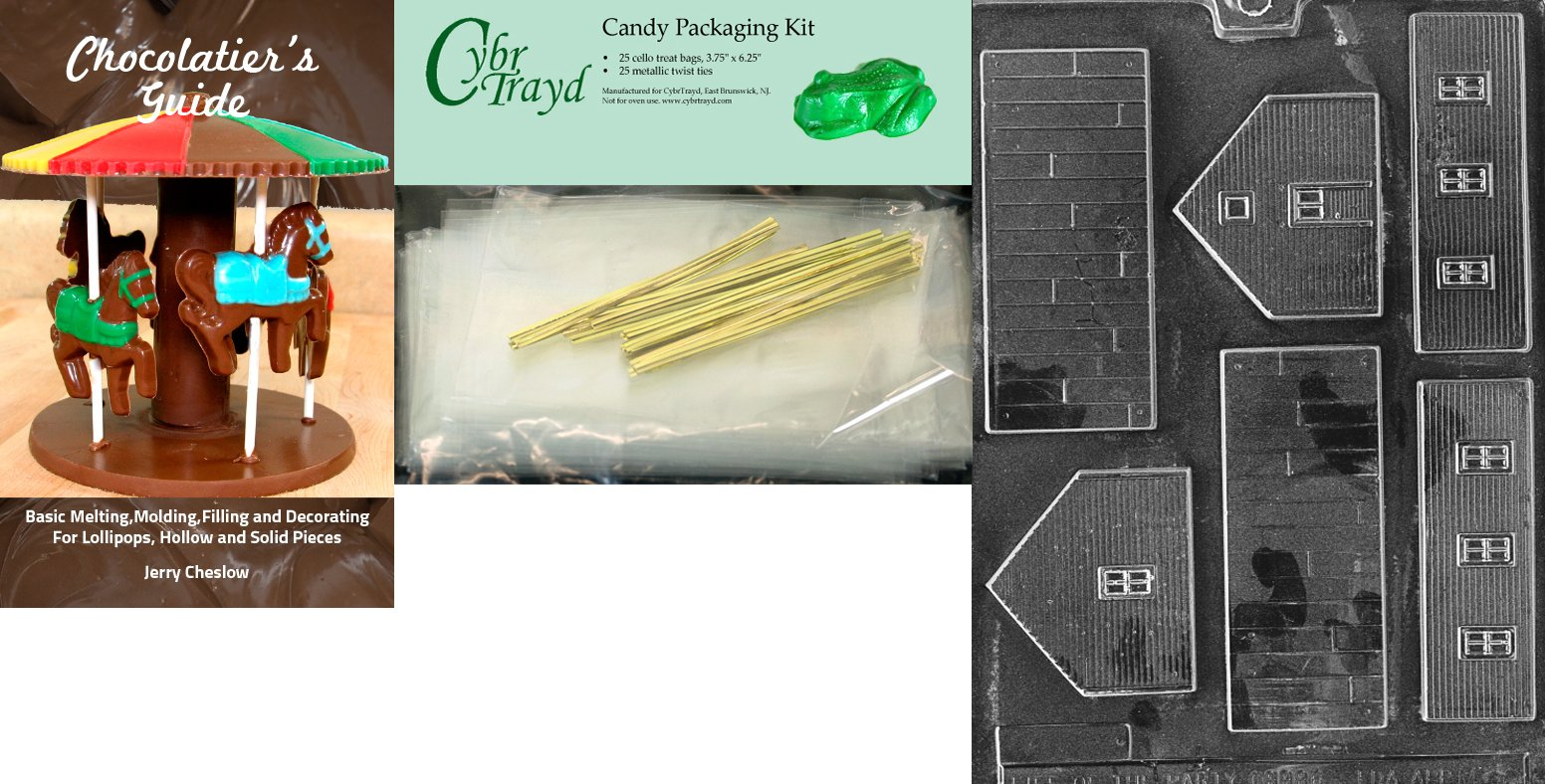 Cybrtrayd ''School'' Miscellaneous Chocolate Mold with Chocolatier's Bundle, Includes 25 Cello Bags and 25 Gold Twist Ties